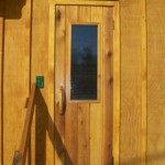 through this sauna door is your sauna party