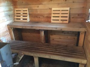 20 year old sauna benches: time for a makeover
