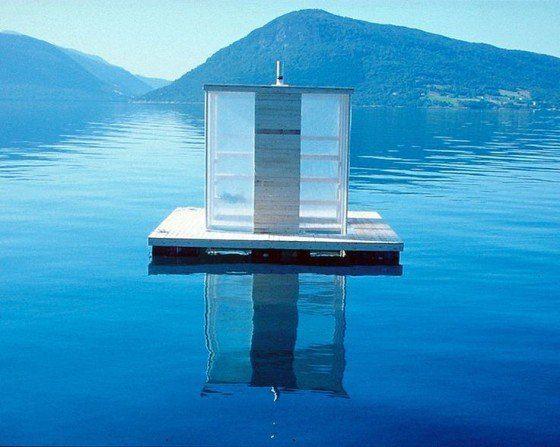 Floating Sauna by Casagrande & Rintala in Rosendahl, Norway.