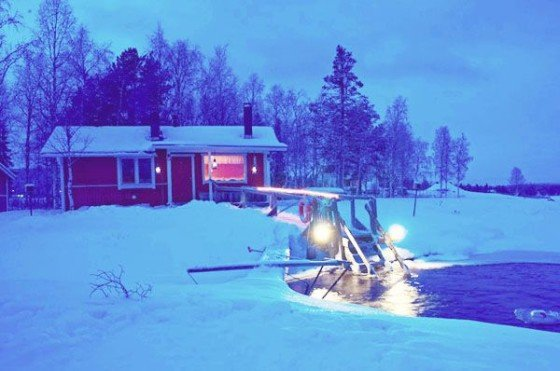 Ice-dipping in Ylläs, Finnish Lapland