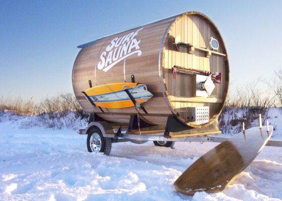 Surf Sauna in a Barrel Keeps Crazy Winter Surfers Warm