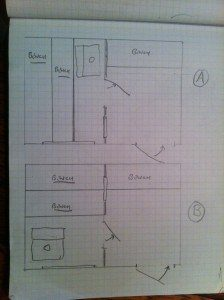 8'x12′ sauna plans reviewed while sitting on the sauna bench