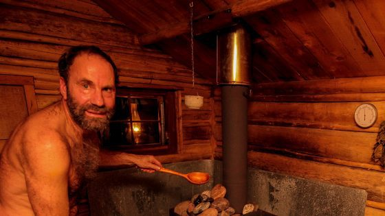 Garrett Conover generating Loyly in his sauna while the Maine winter winds blow.