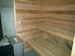 Gary's authentic sauna build in Wisconsin is warmly received by family and friends