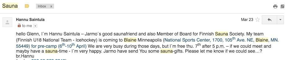 Email from Finnish Sauna Society to Saunatimes