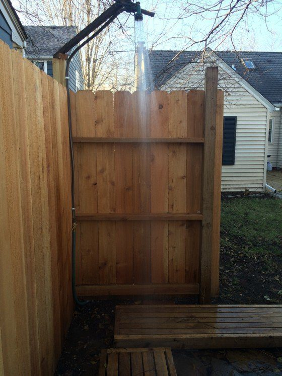 A backyard sauna shower fits in nicely.