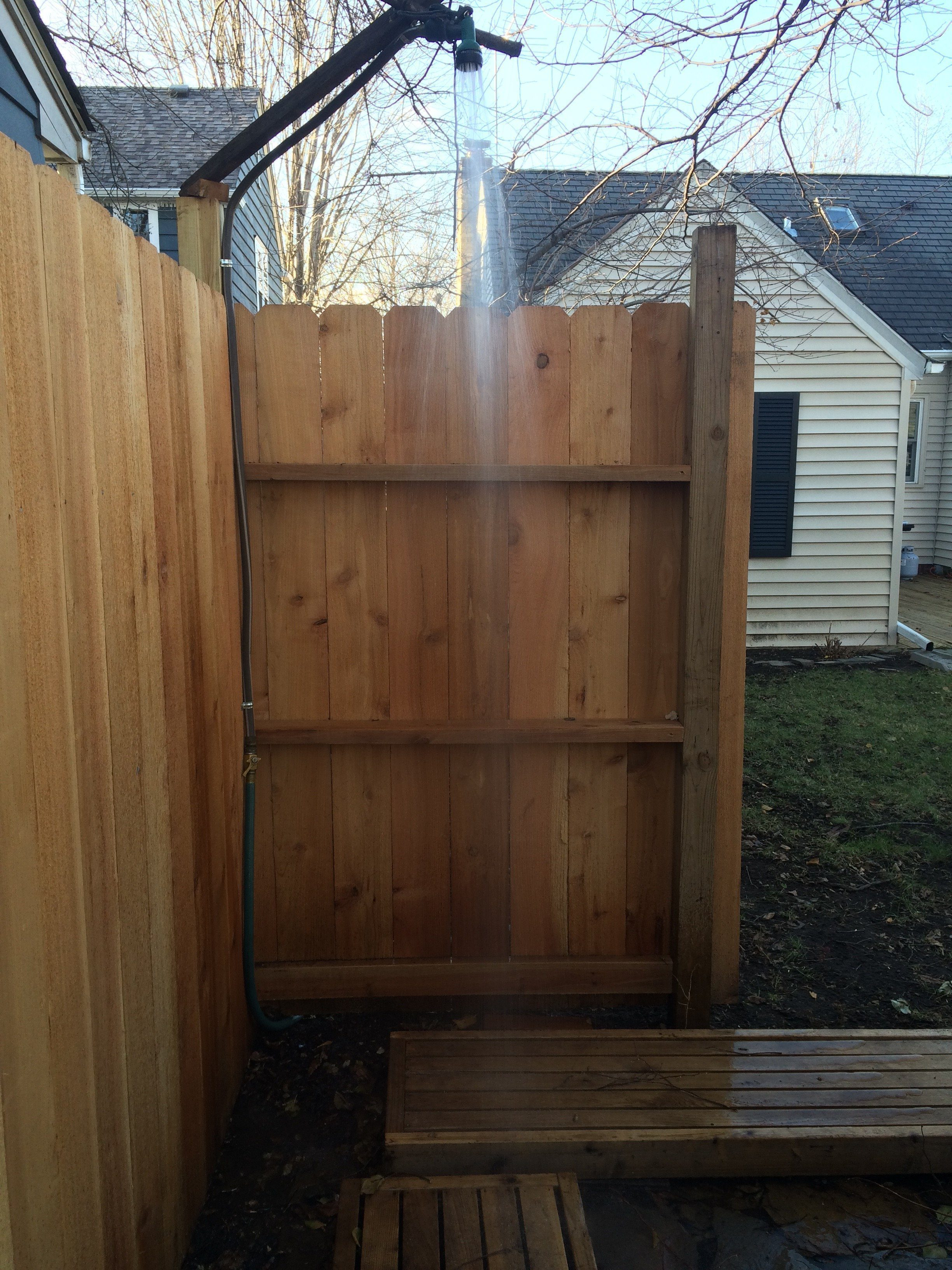An Outdoor Shower For A Backyard Sauna.