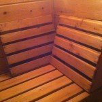 a couple sauna backrests