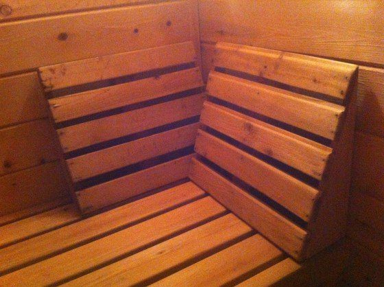 a couple sauna backrests