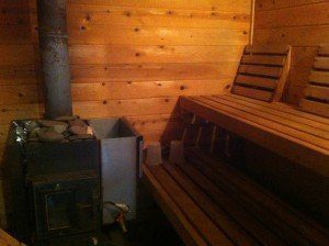 Hot room with wood burning sauna stove