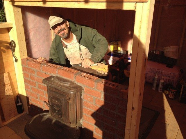bricking in sauna stove