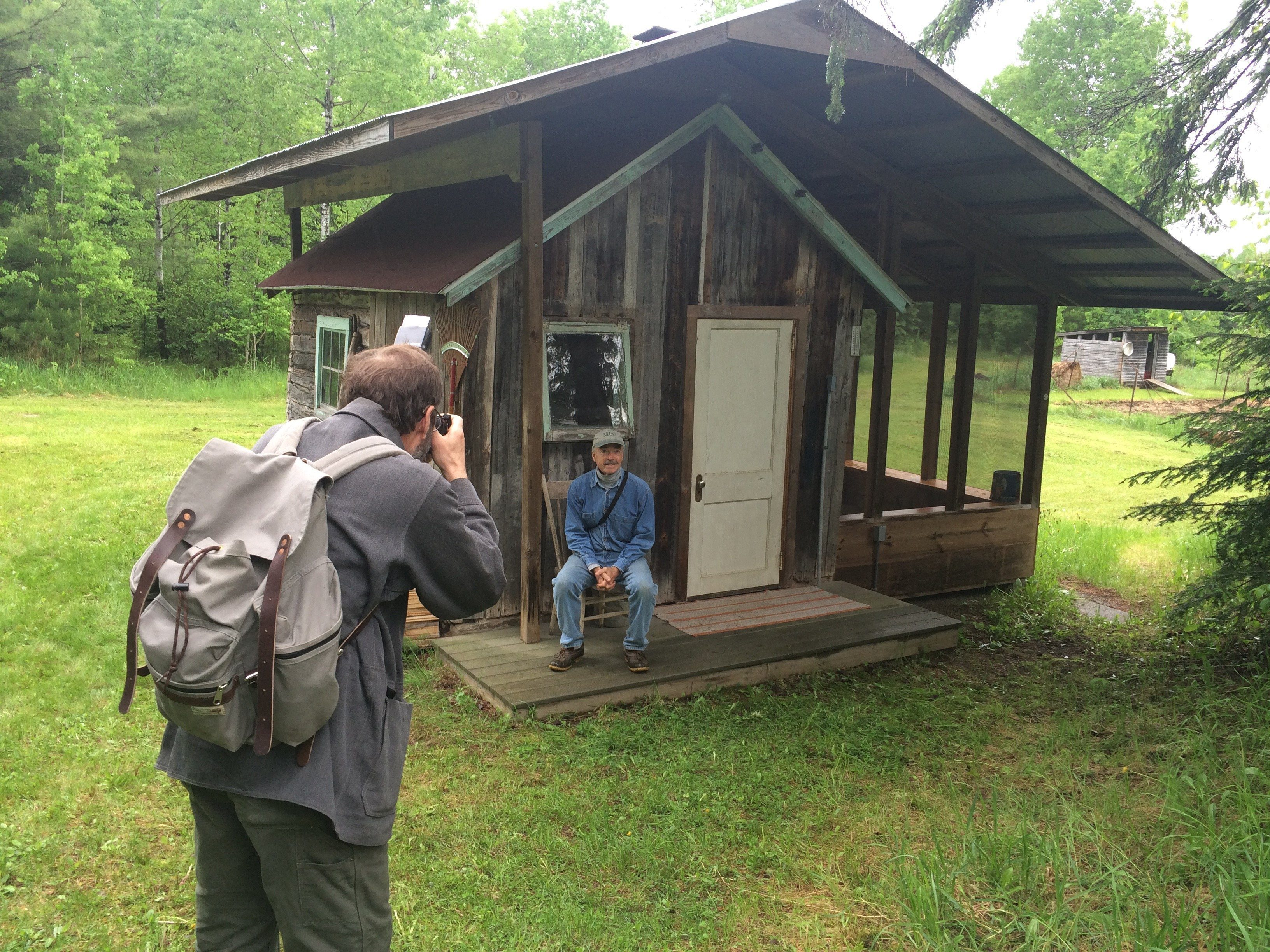 Garrett snaps a shot of Chuck Neil's sauna, outside Embarrass, MN