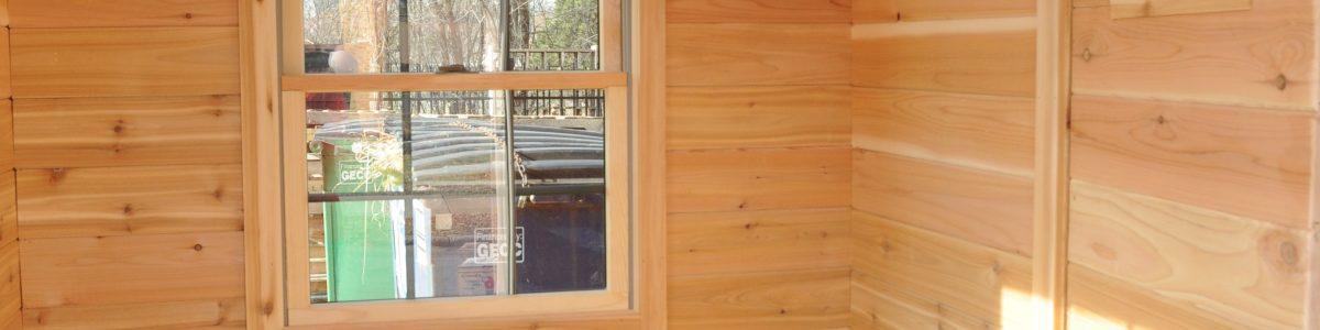 6'x8' changing room.  2'x6' cedar bench.  Upper shelf for storage.  2 28
