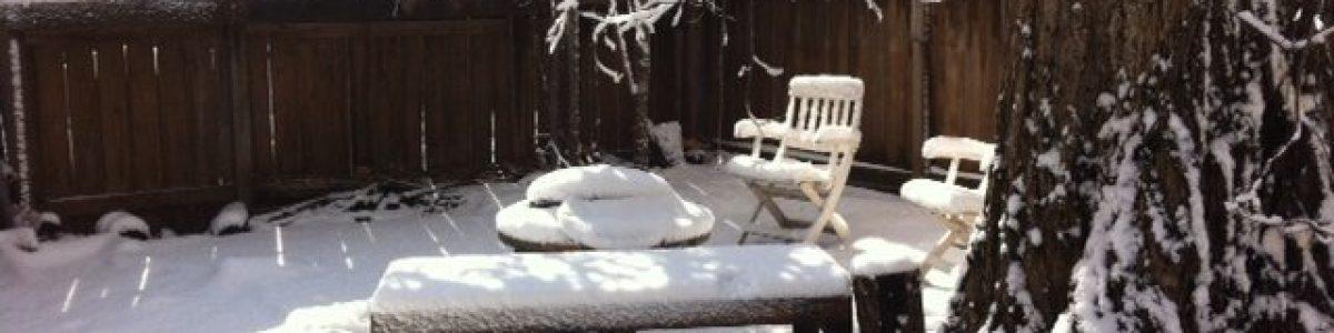 sauna deck in snow