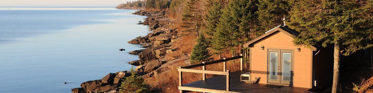 Lake Superior sauna at sunrise