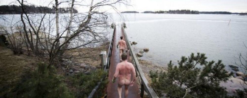 a long bare ass walk to the baltic after sauna round