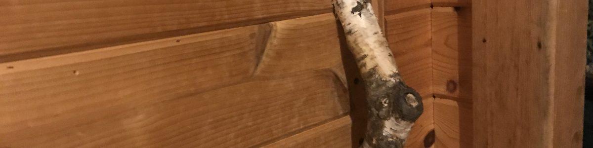 Glenn's sauna door handle. Tribute to his favorite tree species (birch).