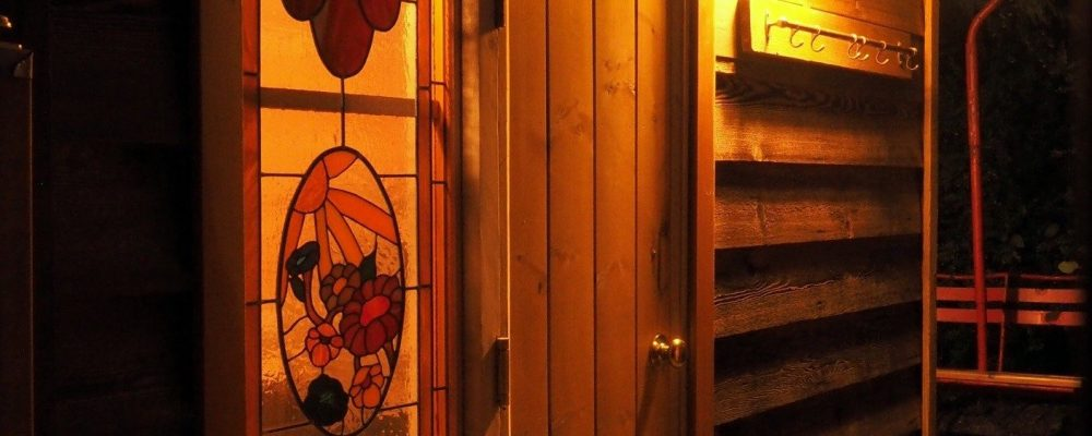 Collaboration with Ken and his Dad produced this elegant stain glass feature to the sauna space.