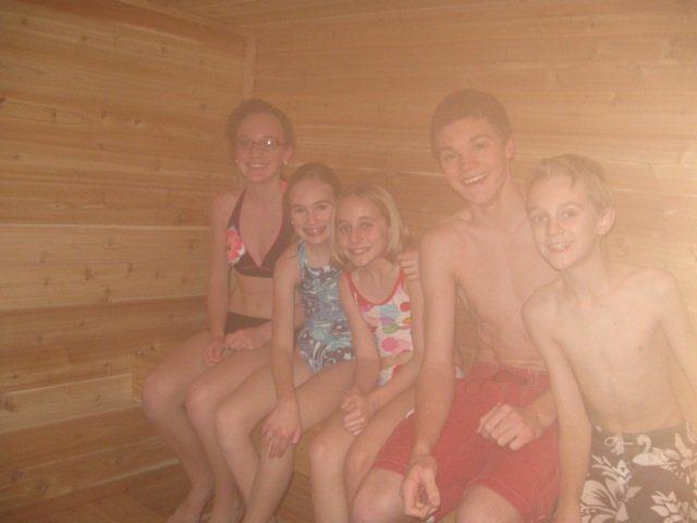 kids smiling in sauna