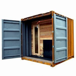 Portable shipping container sauna visited throughout the interweb.