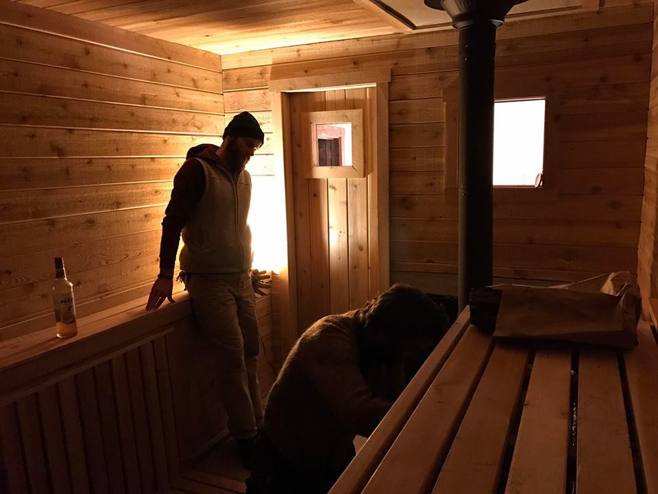 JP overlooking the first light of 612 Mobile Sauna (photo: another co op volunteer).