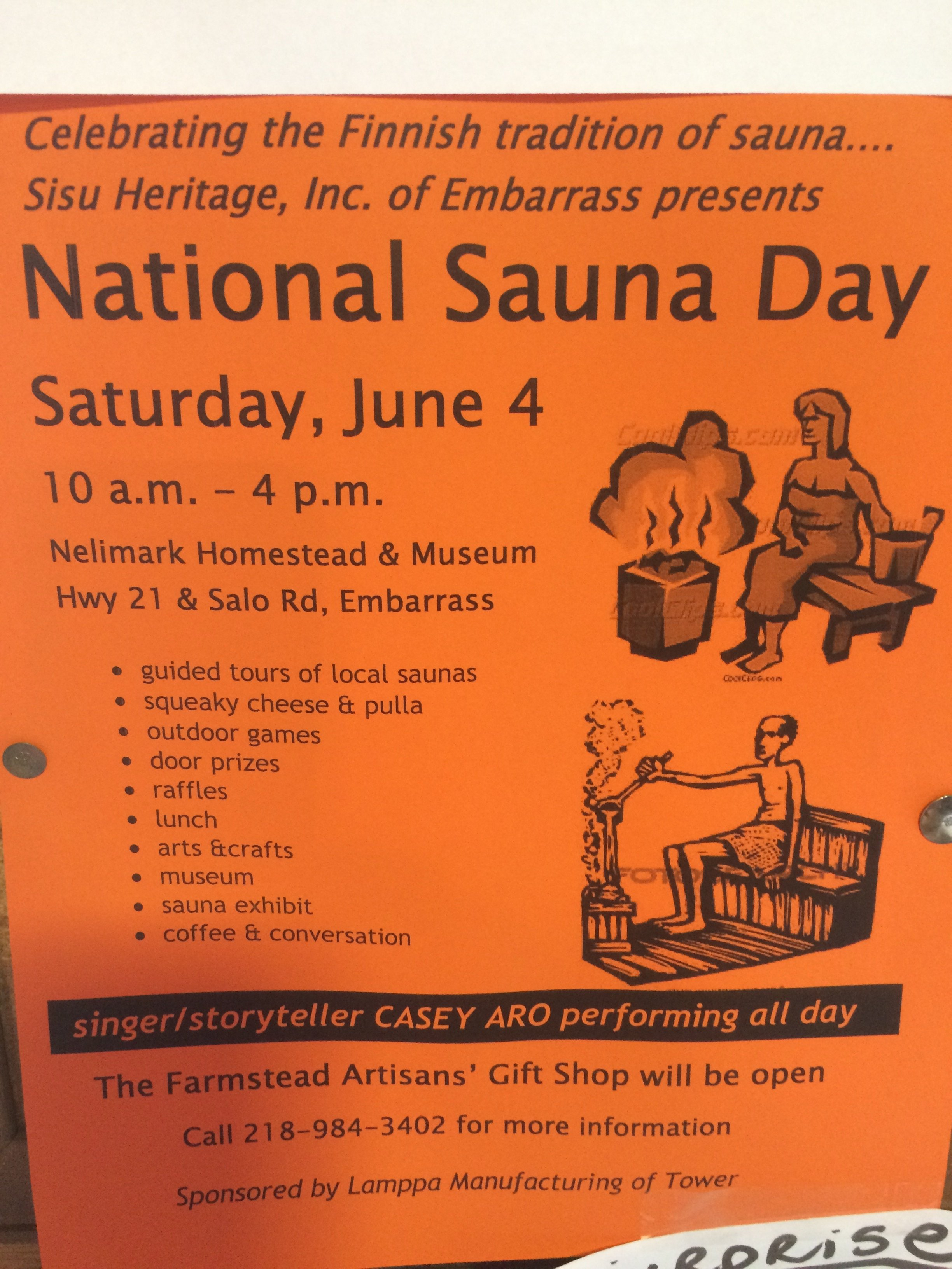 National Sauna Day 2016 flyer, Embarrass, MN