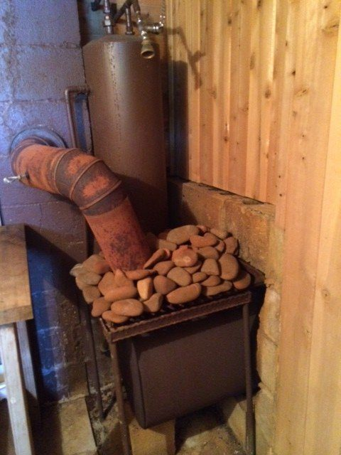 homemade wood burning sauna stove