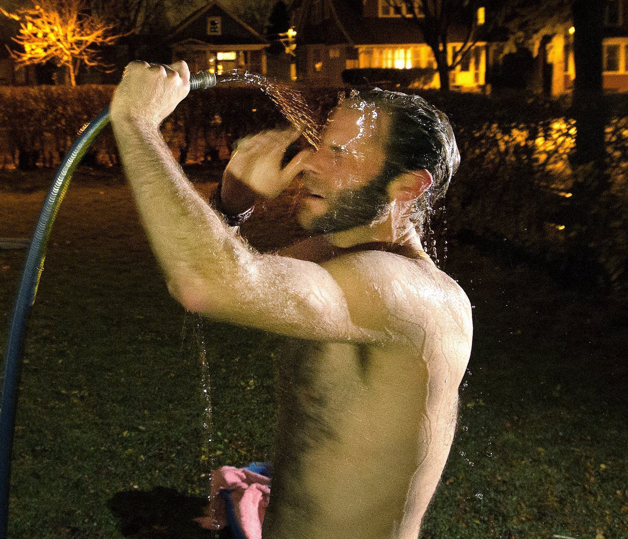 Pederson cooled down with a garden hose. A shower really isn't needed, enthusiasts say, as the sauna is the shower.