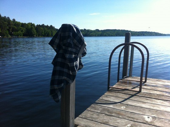 boxers drying on a dock post