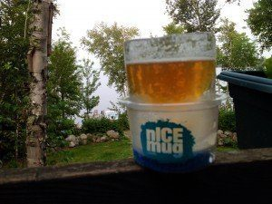 Enjoying the sounds of summer at the lake with a nICE mug - a drinking glass made out of ice.