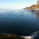 April 15, 2014.  Ice floating on Lake Superior, North East Minnesota.