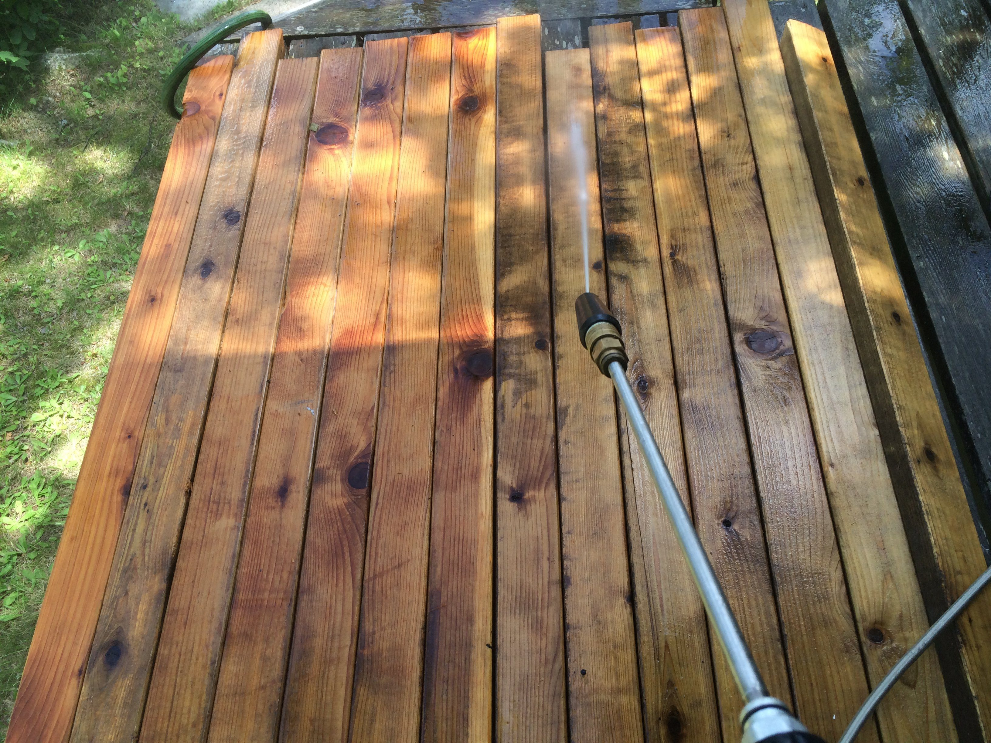 Power washing cedar 2x4s from 20 year old sauna benches.
