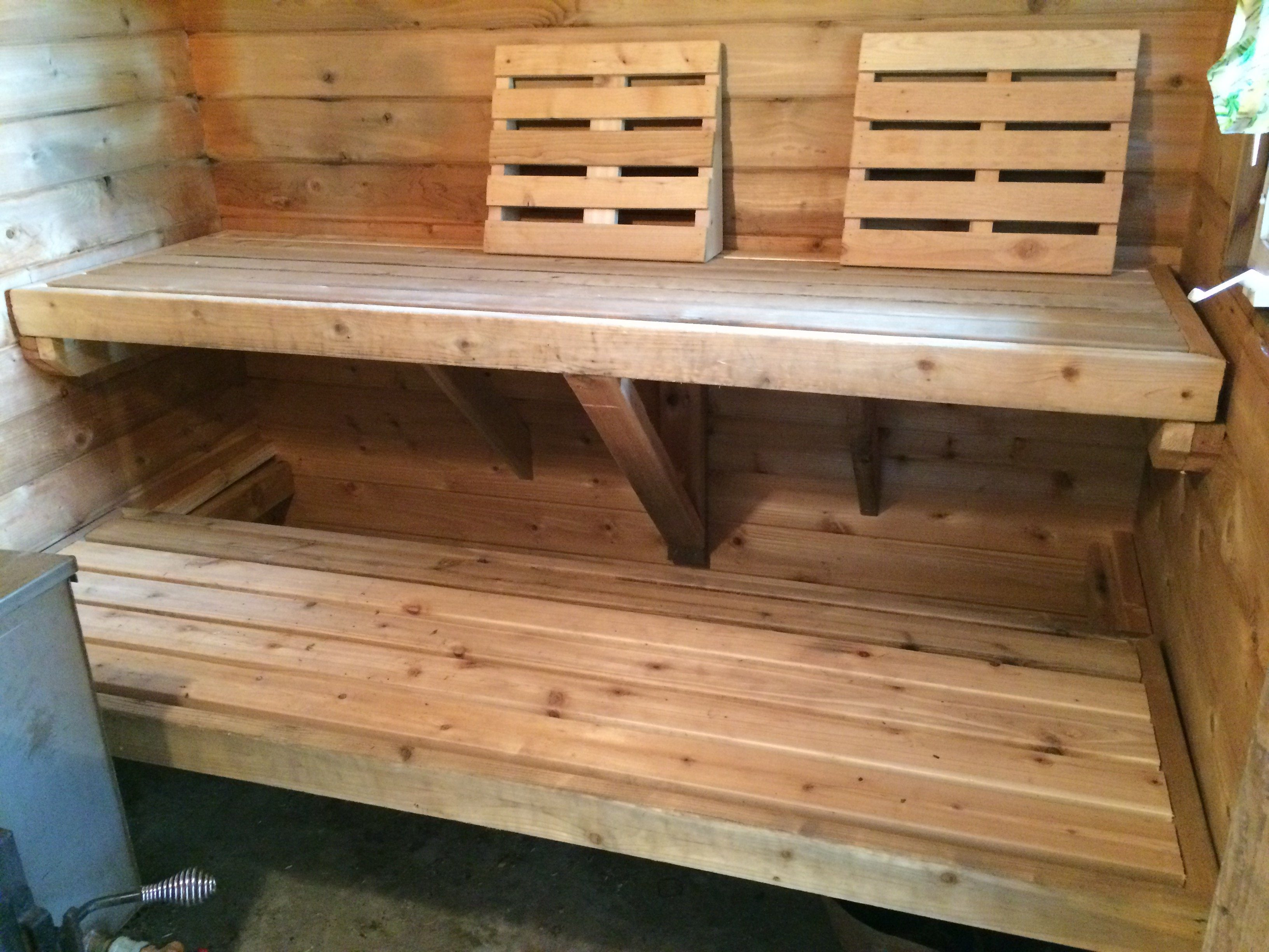 refurbished sauna benches (note new support system and wider benches)