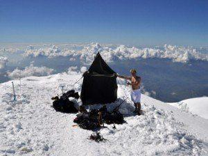 A sauna on the summit of Mont Blanc, Europe's highest peak.