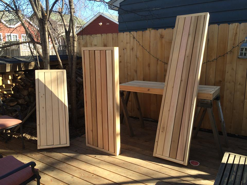 Sauna benches basking in the sun prior to installation.