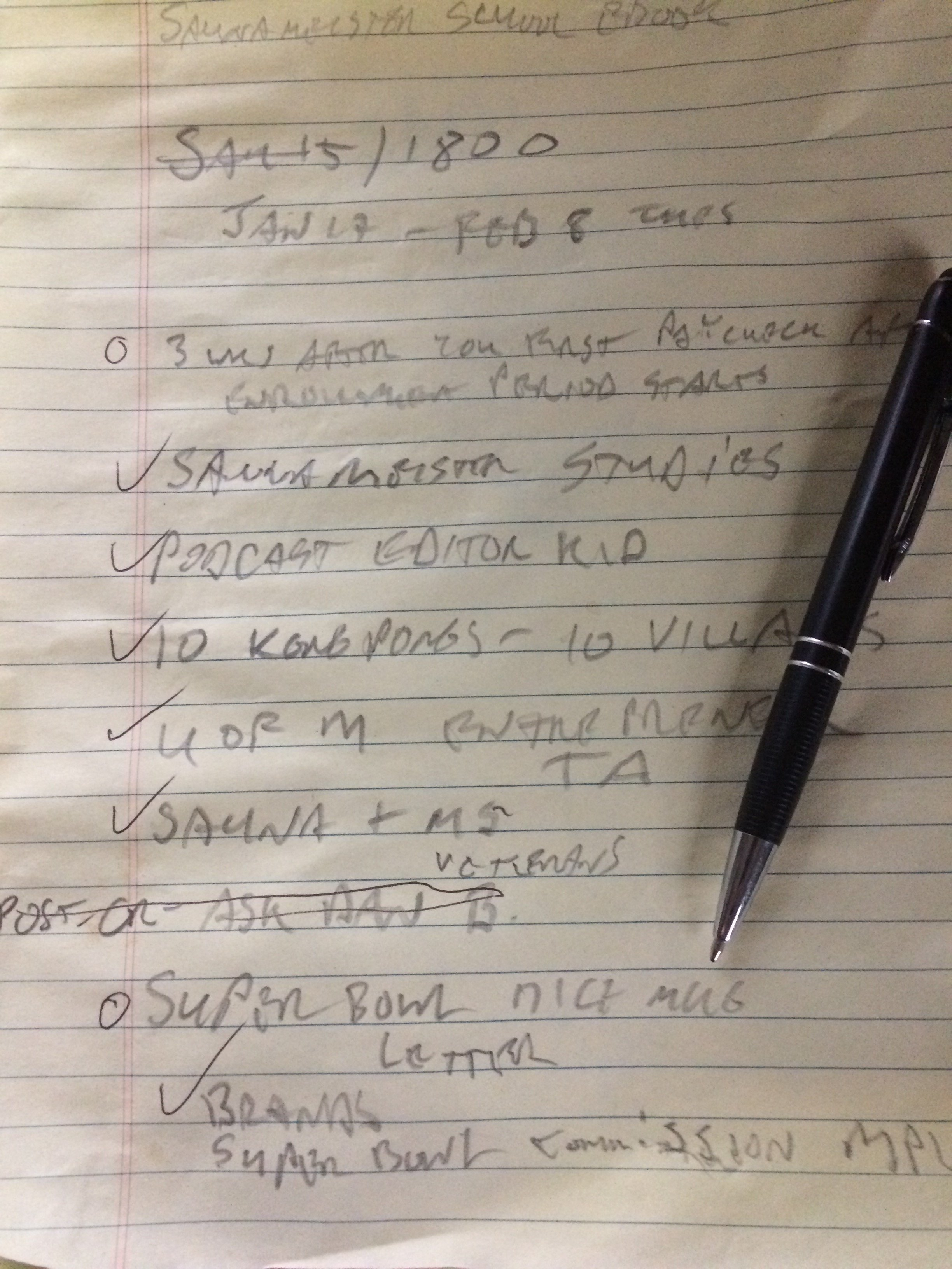 """to do"" list of ideas jotted down during a solo sauna session (many end up being lame)"