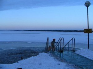 ABC of winter swimming outlined from an outfit in Tampere, Finland